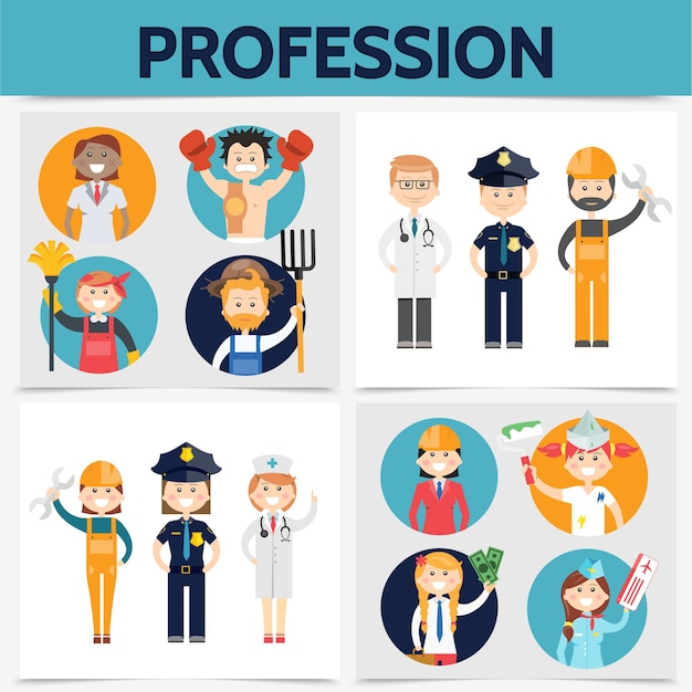 Concept carré de professions plates