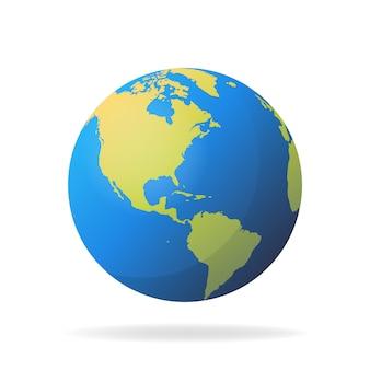 Concept de carte du monde 3d moderne isolé sur fond blanc. planète mondiale, illustration de la sphère de la terre