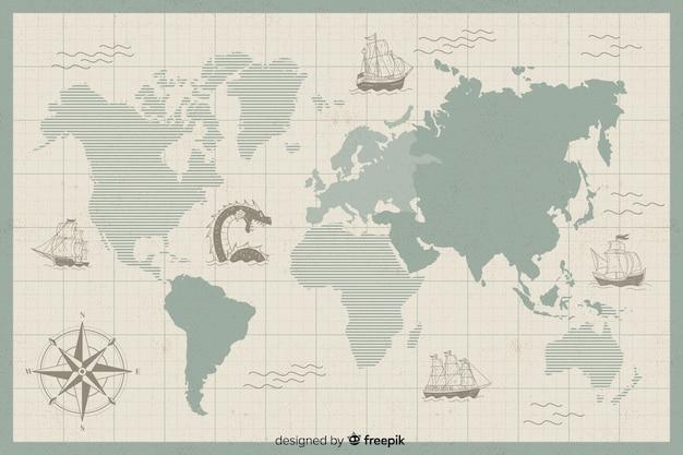 Concept de carte du monde vintage numérique