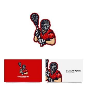 Concept de carte d'identité mascotte un bâton de crosse sports athlétiques rouges