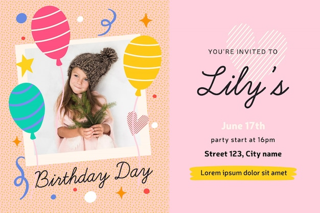 Concept de carte d'invitation anniversaire fille