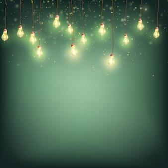 Concept de carte joyeux noël - guirlande de lumières rougeoyantes.