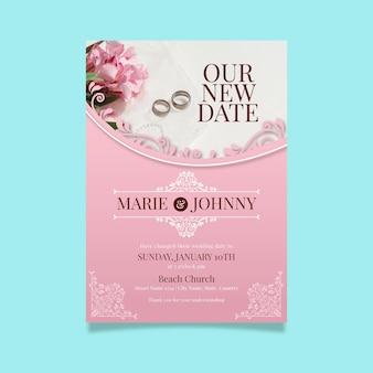 Concept de carte de mariage reporté