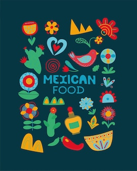 Concept de carte postale de fleurs de cactus du mexique de style folklorique de la fête nationale de la cuisine mexicaine