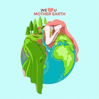 Concept de carte de voeux happy mother earth day