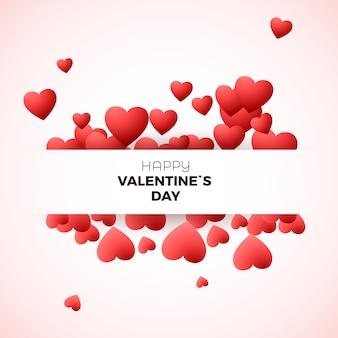 Concept de carte de voeux happy valentine`s day. modèle d'invitation pour le mariage ou la saint-valentin décorer les coeurs et l'étiquette pour le texte. illustration