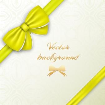 Concept de carte de voeux avec noeud soyeux jaune et rubans sur illustration décorative
