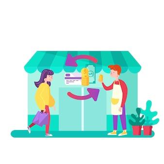 Concept de cashback avec l'achat de marchandises