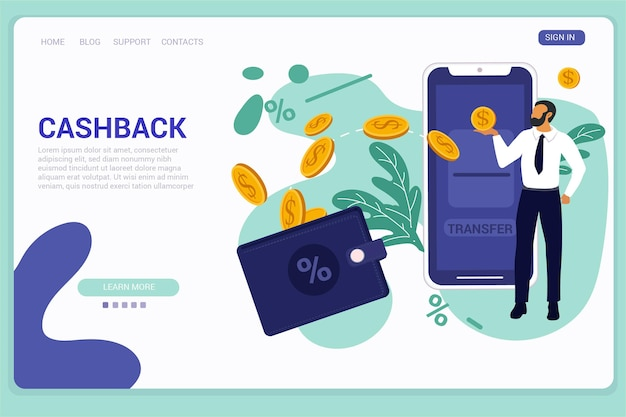 Concept de cashback - page de destination