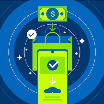 Concept de cashback avec paiement par téléphone