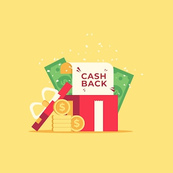 Concept de cashback avec des pièces et des billets