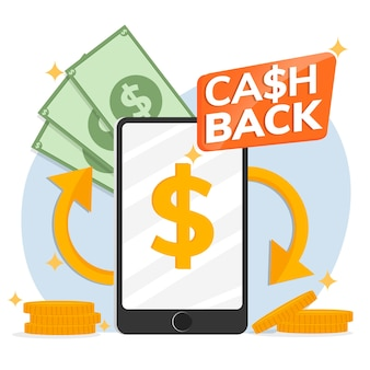 Concept de cashback avec smartphone