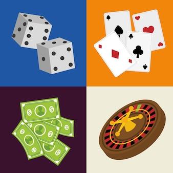 Concept de casino avec design d'icône article las vegas