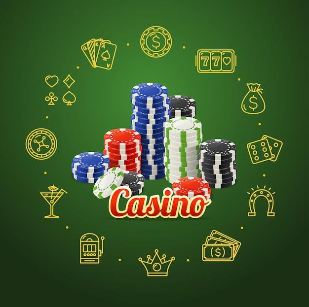 Concept de casino avec piles de jetons