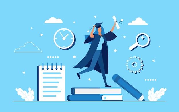 Concept de célébration des diplômés avec une étudiante heureuse