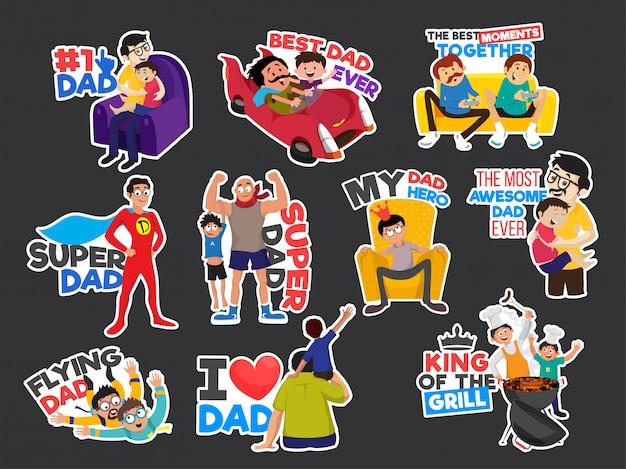 Concept de célébration de fête des pères heureux avec des autocollants pour la célébration de la fête des pères.