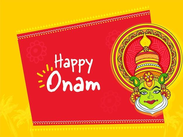 Concept de célébration heureuse d'onam avec le visage de danseur de kathakali sur le fond rouge et jaune.