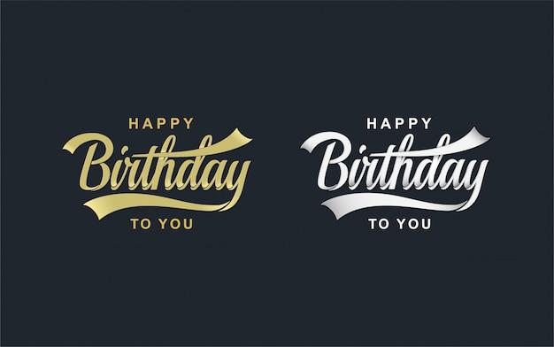 Concept de célébration de joyeux anniversaire. lettrage de fête d'anniversaire de voeux.