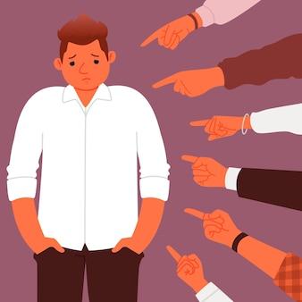 Concept de censure sociale ou d'accusations de nombreuses mains pointant vers un harcèlement triste et déprimé