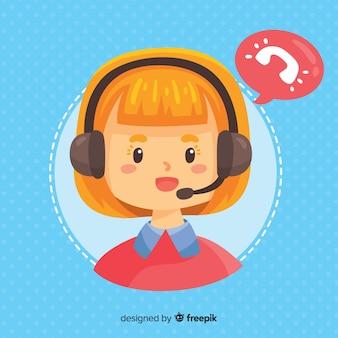 Concept de centre d'appels avec femme