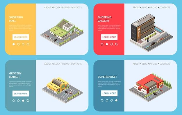 Concept de centre commercial sertie de symboles de galerie marchande illustration isolée isométrique