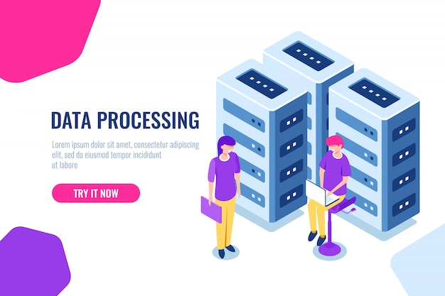 Concept de centre de données volumineux, sécurité de la base de données en nuage, ingénieur, matériel de maintenance