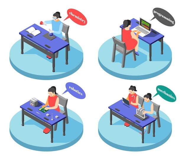 Concept de centres de formation technique pour enfants 4 compositions isométriques rondes avec des compétences de programmation en robotique chimique isolées