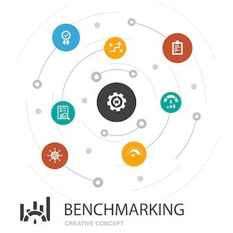 Concept de cercle coloré d'analyse comparative avec des icônes simples. contient des éléments tels que le processus, la gestion, l'indicateur