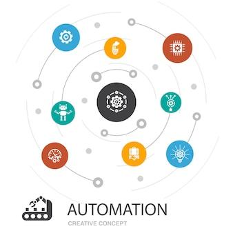 Concept de cercle coloré d'automatisation avec des icônes simples. contient des éléments tels que la productivité, la technologie, le processus, l'algorithme