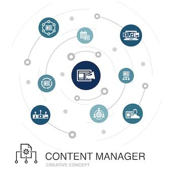 Concept de cercle coloré de gestion de contenu avec des icônes simples. contient des éléments tels que le cms, le marketing de contenu, l'externalisation, le contenu numérique