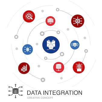 Concept de cercle coloré d'intégration de données avec des icônes simples. contient des éléments tels que base de données, data scientist, analytics, machine learning