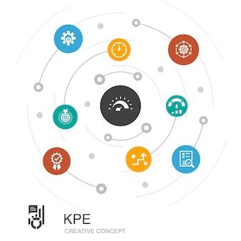 Concept de cercle coloré kpi avec des icônes simples. contient des éléments tels que l'optimisation, l'objectif, la mesure, l'indicateur