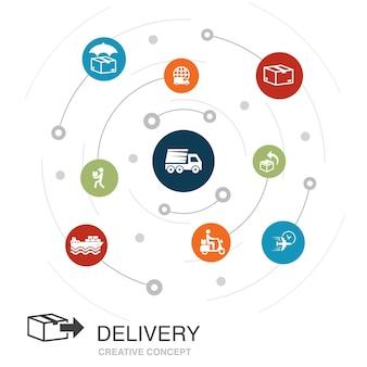 Concept de cercle coloré de livraison avec des icônes simples. contient des éléments tels que retour, colis, coursier, livraison express