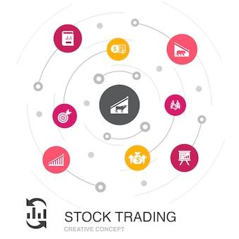 Concept de cercle coloré de négociation d'actions avec des icônes simples. contient des éléments tels que le marché haussier, le marché baissier, le rapport annuel, la cible
