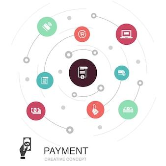 Concept de cercle coloré de paiement avec des icônes simples. contient des éléments tels que facture, argent, facture, remise