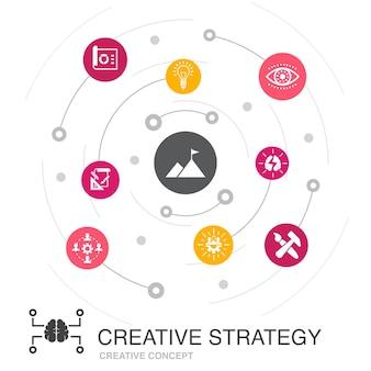 Concept de cercle coloré de stratégie créative avec des icônes simples. contient des éléments tels que la vision, le remue-méninges, la collaboration, le projet
