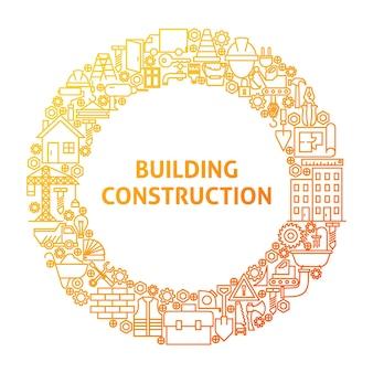 Concept de cercle d'icône de ligne de construction. illustration vectorielle d'objets d'équipement de construction.