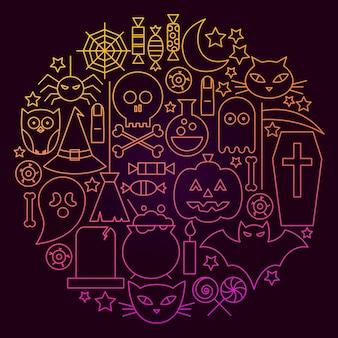 Concept de cercle d'icône de ligne d'halloween. illustration vectorielle d'objets de vacances effrayant.
