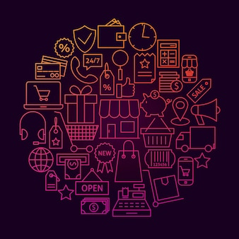 Concept de cercle d'icône de ligne de magasinage. illustration vectorielle des objets de vente au détail et de marché en ligne.