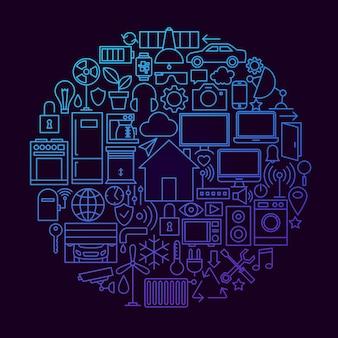 Concept de cercle d'icône de ligne de maison intelligente. illustration vectorielle d'objets de technologie domestique.