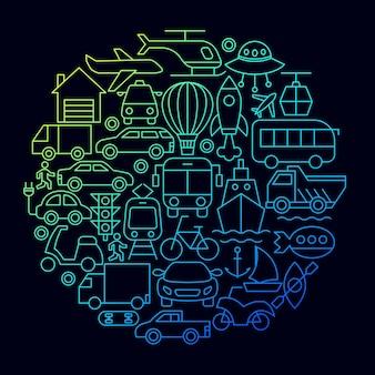 Concept de cercle d'icône de ligne de transport. illustration vectorielle de la conception de contour.