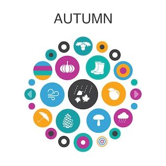 Concept de cercle d'infographie automne. éléments d'interface utilisateur intelligents noix de chêne, pluie, vent, citrouille