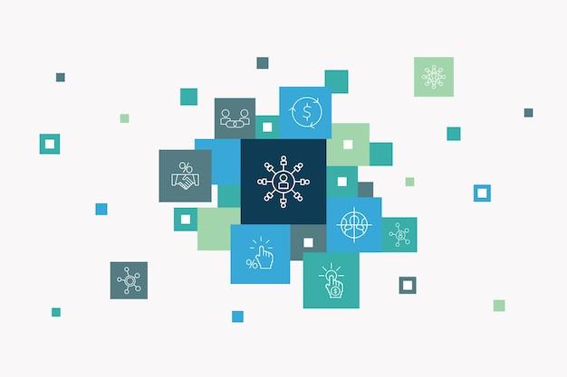 Concept de cercle d'infographie boursière. éléments d'interface utilisateur intelligents courtier, finance, graphique, part de marché