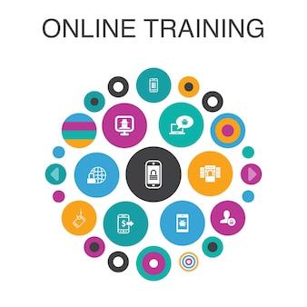 Concept de cercle d'infographie de formation en ligne. éléments de l'interface utilisateur intelligente apprentissage à distance, processus d'apprentissage, apprentissage en ligne, séminaire