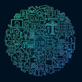 Concept de cercle de ligne immobilière. illustration vectorielle d'objets de contour de maison et de bâtiment.