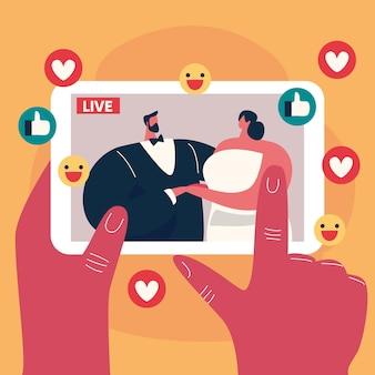 Concept de cérémonie de mariage en ligne