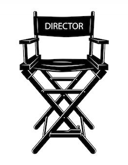 Concept de chaise de réalisateur de film monochrome vintage