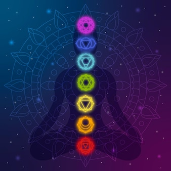 Concept de chakras à forme humaine