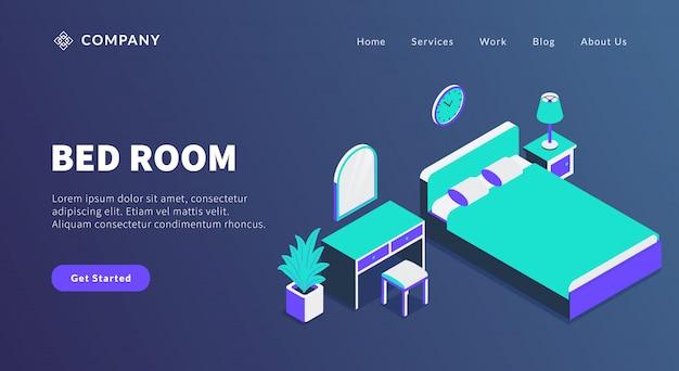 Concept de chambre à coucher avec lit et miroir de placard pour le modèle de site web ou la page d'accueil d'atterrissage