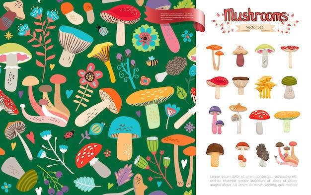 Concept de champignons forestiers d'été plat